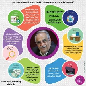 گزینه پیشنهادی رییس جمهور برای وزارت اقتصاد و امور دارایی دولت دوازدهم